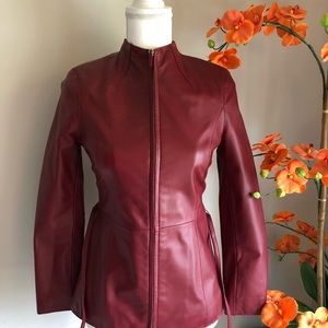 Classiques Entier RED fitted leather jacket